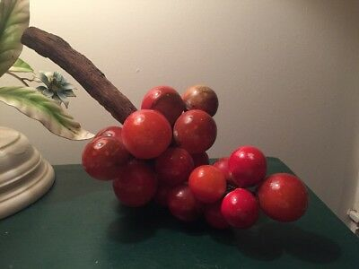 "Vintage Marble ALABASTER STONE FRUIT RED GRAPES Italy 13"" Needs Rewire"
