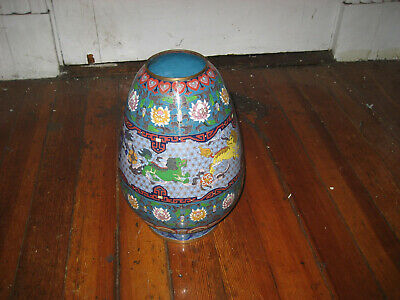 Antique Chinese Brass Enamel Cloisonne Vase