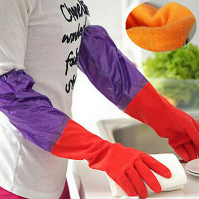 Household Rubber Latex Washing Up Long Sleeve Kitchen Dishes Cleaning Gloves