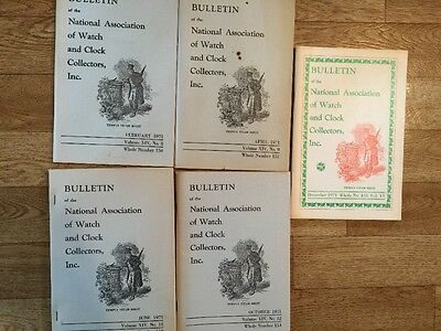 Bulletin of the National Association of Watch & Clock Collection 5 Booklets 1971