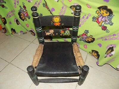 Vintage Rare Wooden Child's Chair Ladder Back Woven Seat