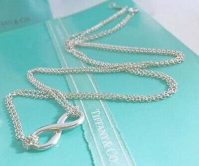 "Tiffany & Co Sterling  Silver Infinity Double Chain Pendant Necklace 17.75"" 1910"