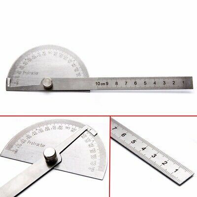 Round Angle Finder Ruler 180° Protractor Arm Stainless Steel Measure Tool Set UK