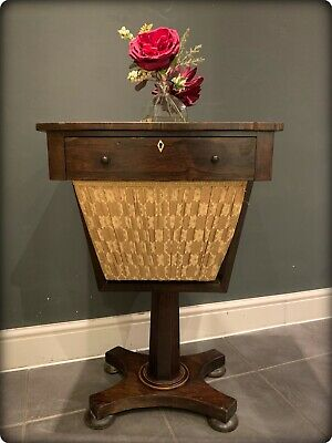 Antique Early Victorian Rosewood Veneer Sewing/Work Table