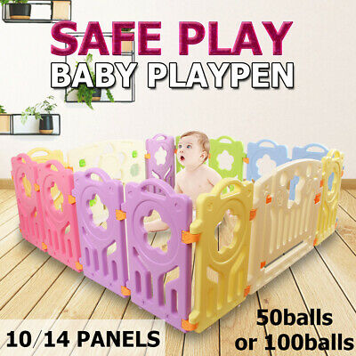 10/14 Baby Playpen Kids Activity Centre Safety Play Slide Home Indoor Mult Size