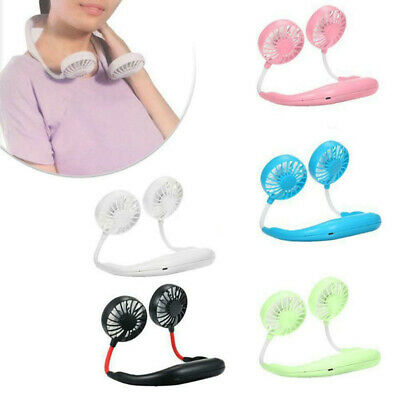 Lazy Suspendu Cou Double Ventilateur 3 Vitesses USB Rechargeable Mini Sports