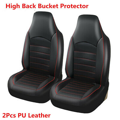 Car Synthetic Leather Front 2 Seat Covers High Back Bucket Protector Cushions