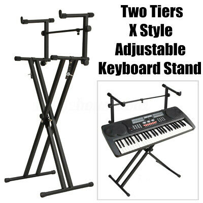 Adjustable Height 2-Tier X Dual Music Keyboard Stand Electronic Piano Double ❤