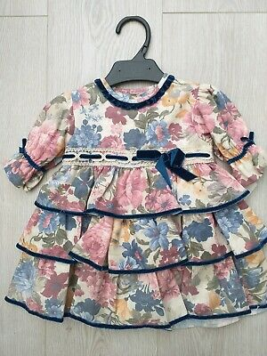 Baby Girls Spanish Romany Dress Navy Blue Pink Floral Dress 12 Months