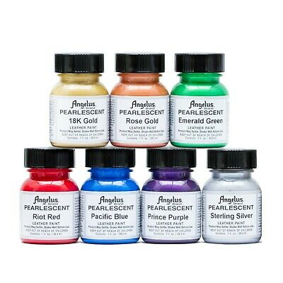 Angelus Pearlescent Acrylic Leather Paint Complete 1 oz Kit