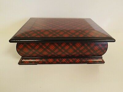 Antique Victorian Tartanware Jewellery Box - Red Lined. 1880
