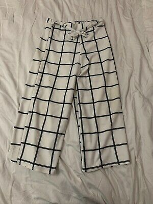 New Look Girls 915 White Grid Culotte Trousers Age 14-15