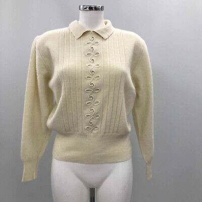 ST MICHAELS Cream Collared Vintage Casual Jumper Womens Uk 14 TH311667