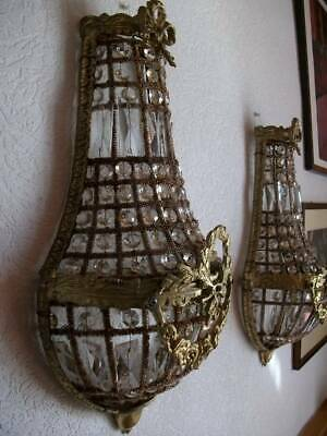 Pair Authentic French Antique Crystal  Wall Chandeliers  c1920s