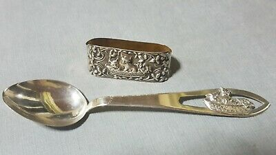 Vintage Sterling Silver Baby Child Kids Silverware Set Spoon Napkin Ring W/ Cats
