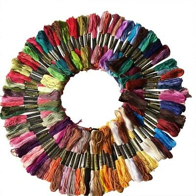 100Pcs Lots Cotton Cross Floss Stitch Thread Embroidery Sewing Skeins Set AU