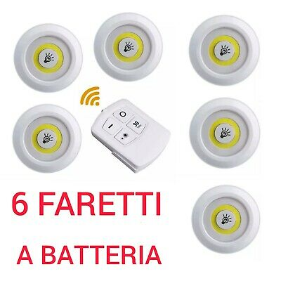 Kit 6 Faretti Led Con Telecomando Wireless  Per Soffitto Armadio A Batteria