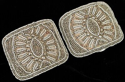 Antique Designer France Victorian Era Shoe Buckle Clip Art Deco Beads Pair