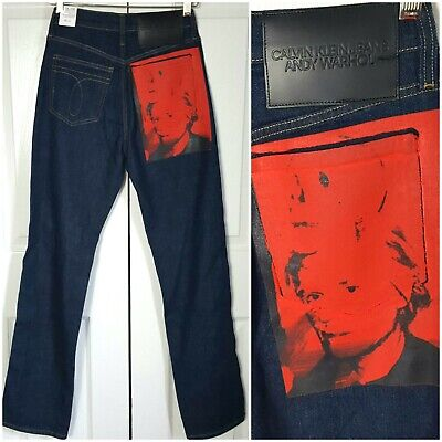 Calvin Klein Men's or Women's Jeans Andy Warhol Red Self Portrait With Skull
