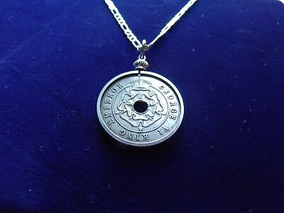 "1937 Colonial English Southern Rhodesia Penny Pendant on a 26"" Silver Link Chain"