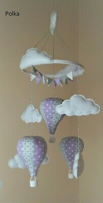 Unisex hot air balloon nursery baby mobile lilac and grey Various designs