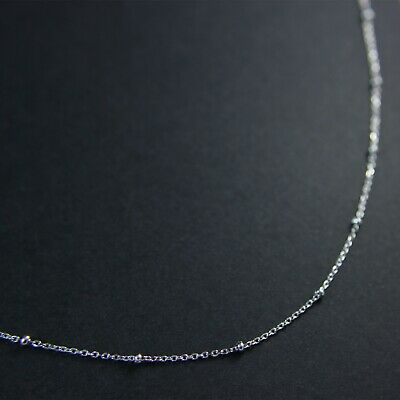 GENUINE 925 Sterling Silver Extra Skinny Bead Cable Chain Choker Necklace UK New