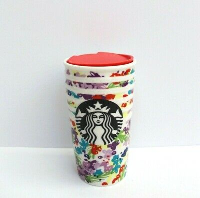 Starbucks Floral Spring Morning Double Wall Traveler Ceramic Tumbler 10 Fl Oz
