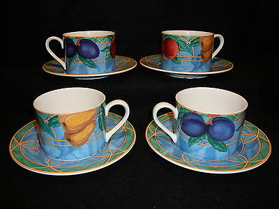 Victoria & Beale Casual FORBIDDEN FRUIT 9024 CUPS & SAUCERS Lot x 4 Mint Cond.