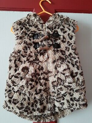 Next 2-3 Years Lepord Print Fur Hooded Gillet Body Warmer With Ears Lovely Girls