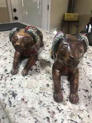 Wood Carved Beaded Dogs Egyptian ? Mexico ? Tribal?