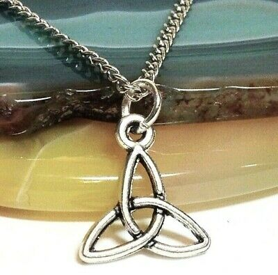 CELTIC KNOT CIRCLE/_Large Pendant on Chain Link Necklace/_Irish Triquetra Pagan