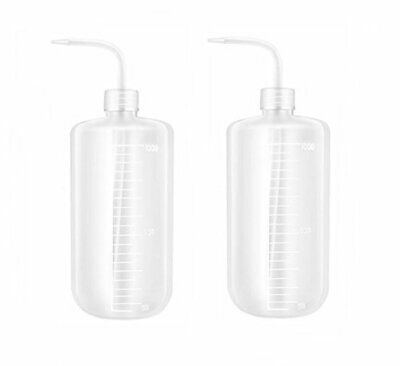 2PCS White Plastic Safety Squeeze Wash Bottles Bent Tip Oil (1000ml/34oz)