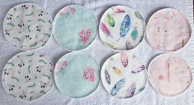 Breastfeeding Pads Washable Reusable Waterproof x 4 with Wash Bag Handmade NEW