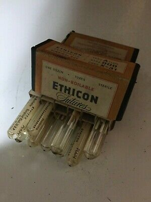 ETHICON Medical Sutures Surgical Gut U.S.P. Med  Non-Boilable Glass Tubes