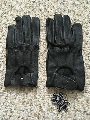 Women's Driving Black Large Leather Gloves
