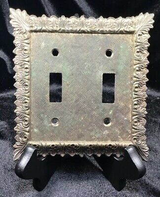 Vtg Edmar Ornate Nouveau Metal Double Switch Cover Plate Mid Century Modern