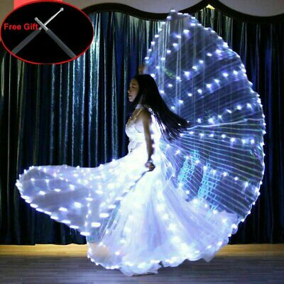 LED Wings Belly Dance Cosplay Glow Show Light Up Costume Include Two Sticks AU