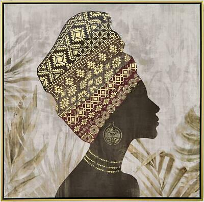 African Lady Canvas Ready to Hang Wall Art Decor Framed Print Home 80X80X3.5CM
