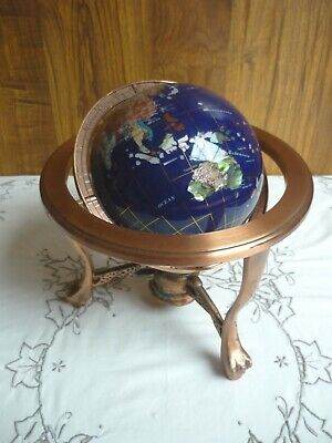 World Gemstone Lapis Blue Globe With Compass And Copper Tripod Stand