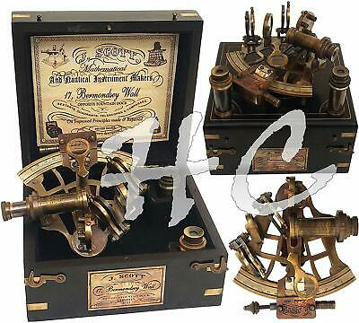 ArtistryHandcrafts J. Scott Antique Brass Ship Sextant With Two Extra Telescope