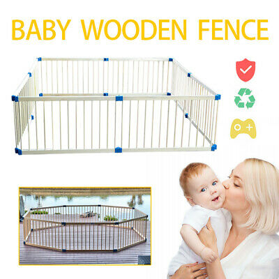 Foldable 8 Panel Pet Kids Baby Toddler Playpen Safety Wood Fence Play Yard AU