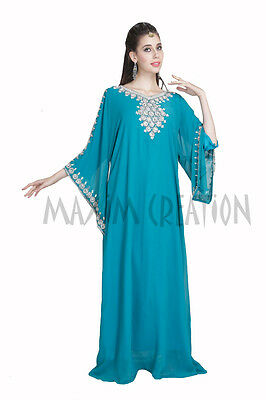 Moroccan Palestinian Kaftan Turkish Hand Embroidered Henna Party Maxi Gown 5426