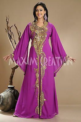 Hand Embroidered Maghribi Bling Embroidery Farasha Cocktail Party Robe Gown 3673