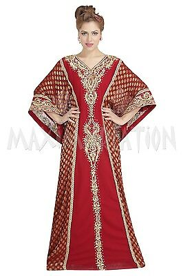 French Soire Jalabiya Robe Hand Embroidery Thobe Maxi Cocktail Party Gown 6187