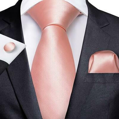 Pink Mens Tie Set Silk Woven Solid Necktie Pocket Square Cufflinks Wedding