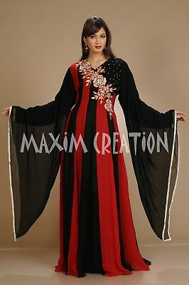 African Kaftan Hand Embroidery Tow Color Arabian Abaya Henna Party Gown  3063