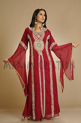 Hand Embroidered Maghribi Kaftan Turkish Luxe Robe Customized Wedding Gown 3182