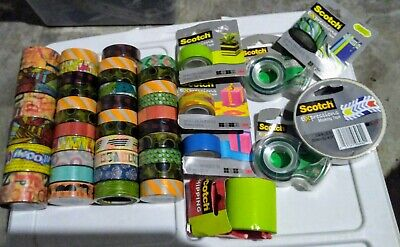 Lot of 46 Rolls 3M Scotch Expressions, Washi, Masking & Shipping Tape 25 colors!