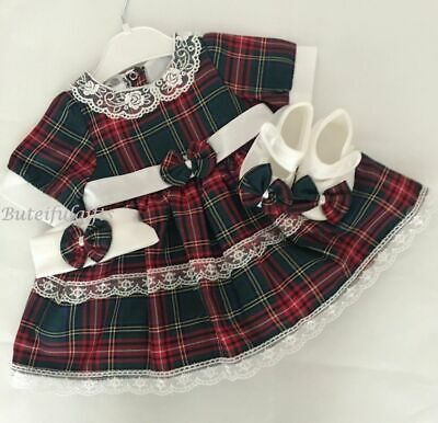 Baby Girls Spanish Style Tartan Lace & Bow Dress Headband & Satin Shoes Outfit