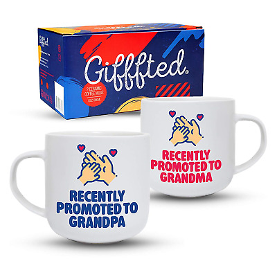 Gifffted Recently Promoted to Grandparents, Coffee Mugs for New Grandma and Gift